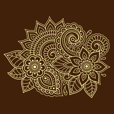 Mehndi flower pattern for Henna drawing and tattoo. Decoration in ethnic oriental, Indian style. Ilustração