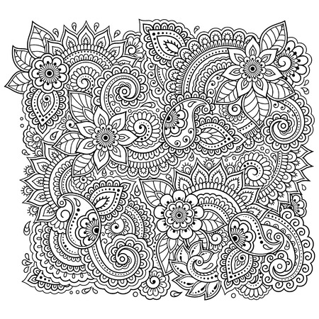Outline floral pattern for coloring book page. Antistress for adults and children. Doodle ornament in black and white. Hand draw vector illustration. Vetores