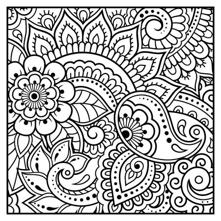 Umreißen Sie Blumenmuster für die Malbuchseite. Antistress für Erwachsene und Kinder. Gekritzelverzierung in Schwarzweiss. Hand zeichnen Vektor-Illustration.