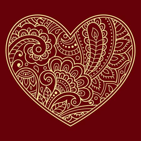 Estilizado para el patrón de colores de flores mehndi en forma de corazón. Decoración en estilo étnico oriental, indio. Saludos de San Valentín.