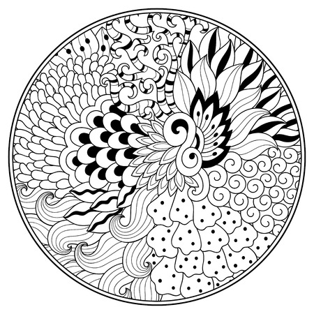 Outline floral pattern for coloring book page. Antistress for adults and children. Doodle ornament in black and white. Hand draw vector illustration.