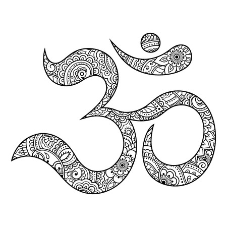 Om or Aum Indian sacred sound. The symbol of the divine triad of Brahma, Vishnu and Shiva. The sign of the ancient mantra in mehndi flower style.