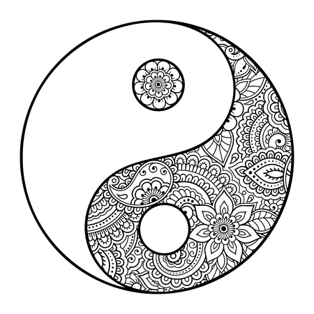 Yin-yang hand drawn symbol. Circular pattern - sign interaction of opposites for Mehndi, henna and tattoo. Decorative ornament in oriental style. Coloring book page.