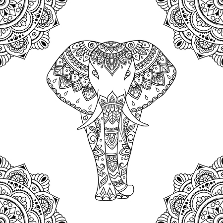Seamless decorative ornament in ethnic oriental style. Circular pattern in form of mandala and African elephant for Henna, Mehndi, tattoo, decoration. Illustration