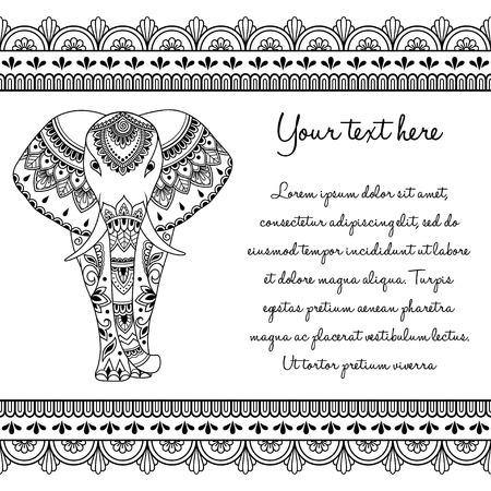 Ensemble de symboles dessinés à la main Mehndi Motif éléphant d'Afrique et bordure transparente pour le dessin et le tatouage au henné. Décoration de style oriental, indien.