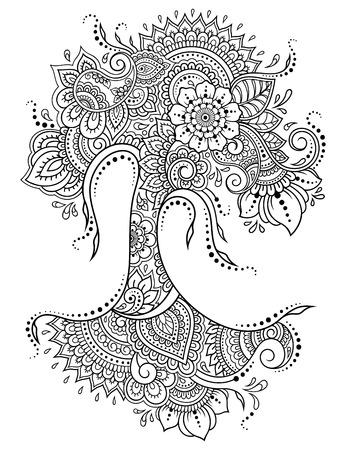 Patrón de flores mehndi en forma de árbol para dibujo y tatuaje de henna. Decoración en estilo étnico oriental, indio.