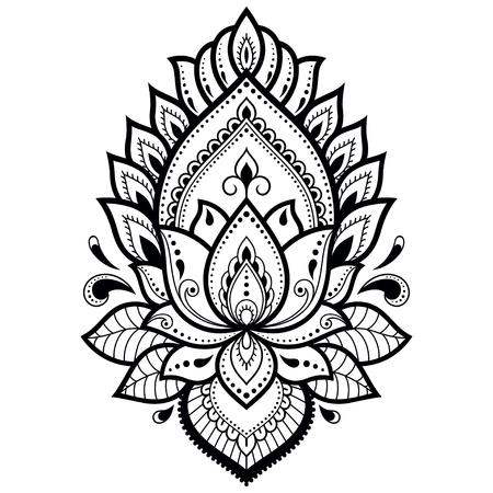 Motif de fleurs Mehndi Lotus pour le dessin et le tatouage au henné Décoration de style ethnique oriental, indien. Vecteurs