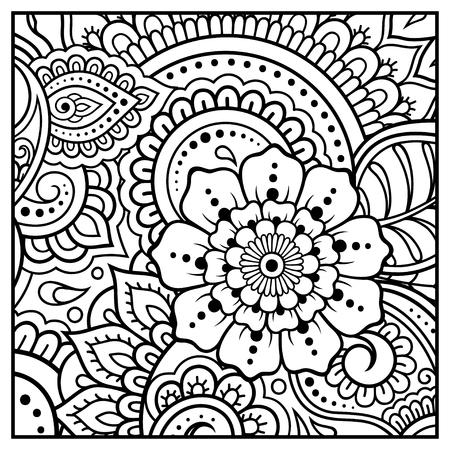 Esquema de patrón floral cuadrado en estilo mehndi para colorear página de libro. Antiestrés para adultos y niños. Adorno de Doodle en blanco y negro. Dibujar a mano ilustración vectorial.