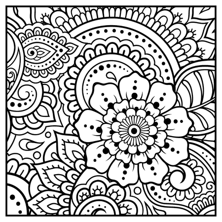 Outline square floral pattern in mehndi style for coloring book page. Antistress for adults and children. Doodle ornament in black and white. Hand draw vector illustration.