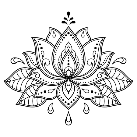 Motif de fleurs Mehndi Lotus pour le dessin et le tatouage au henné Décoration de style ethnique oriental, indien.