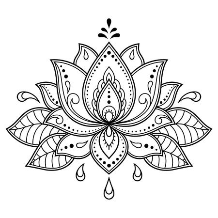 Motivo floreale di loto Mehndi per disegno e tatuaggio all'henné. Decorazione in stile etnico orientale, indiano.