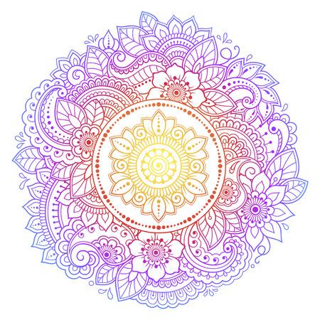 Motif circulaire en forme de mandala avec fleur pour henné, Mehndi, tatouage, décoration. Ornement décoratif de style oriental ethnique. Conception arc-en-ciel sur fond blanc.