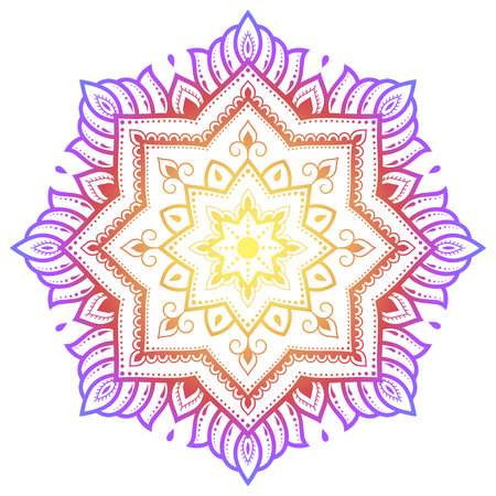 Circular pattern in form of mandala with flower for Henna, Mehndi, tattoo, decoration. Decorative ornament in ethnic oriental style. Rainbow design on white background.