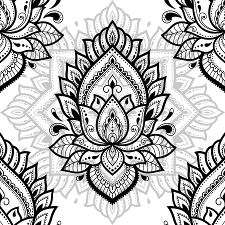 Seamless decorative ornament in ethnic oriental style. Circular pattern in form of mandala and Lotus flower for Henna, Mehndi, tattoo, decoration. Illustration