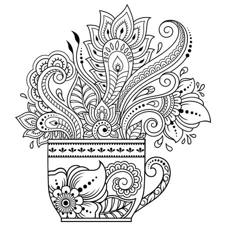 Stylisé avec un motif décoratif de tatouages au henné en forme de tasse de café pour décorer les couvertures de livres, cahiers, cercueils et magazines. Fleur de style mehndi dans la tradition orientale. Page de livre de coloriage.