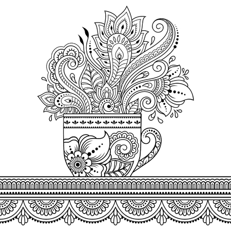 Stylized with henna tattoos decorative pattern in form of cup of coffee for decorating covers for book, notebook, casket and magazine. Flower in mehndi style in eastern tradition. Coloring book page.