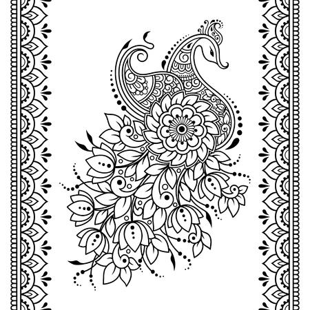 Set di fiori Mehndi, motivo a pavone e bordo senza cuciture per disegno e tatuaggio all'henné. Decorazione in stile orientale, indiano.