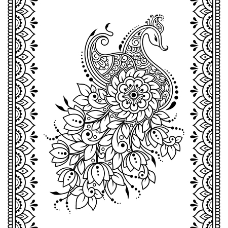 Set of Mehndi flower, peacock pattern and seamless border for Henna drawing and tattoo. Decoration in oriental, Indian style.