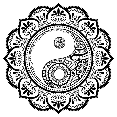 Motif circulaire en forme de mandala pour Henné, Mehndi, tatouage, décoration. Ornement décoratif dans un style oriental avec symbole dessiné à la main Yin-yang. Page de livre de coloriage. Vecteurs
