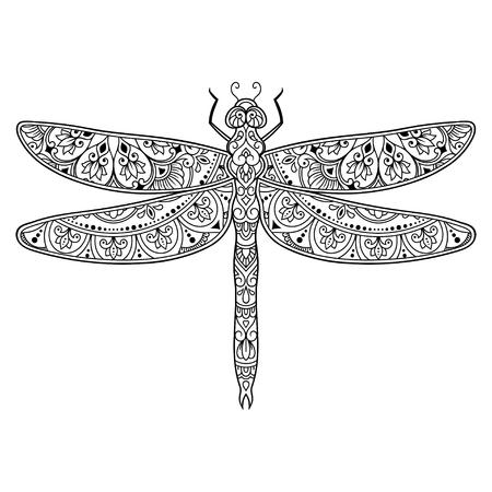 Libellula decorata con motivo floreale vintage etnico indiano. Insetto decorativo disegnato a mano in stile doodle. Ornamento stilizzato mehndi per tatuaggio, stampa, copertina, libro e pagina da colorare.