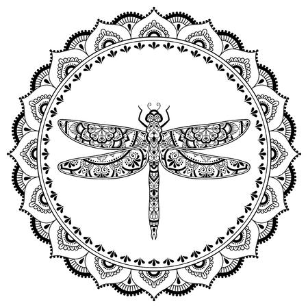 Motif circulaire en forme de mandala avec libellule pour Henné, Mehndi, tatouage, décoration. Ornement décoratif de style oriental ethnique. Cadre dans la tradition orientale.
