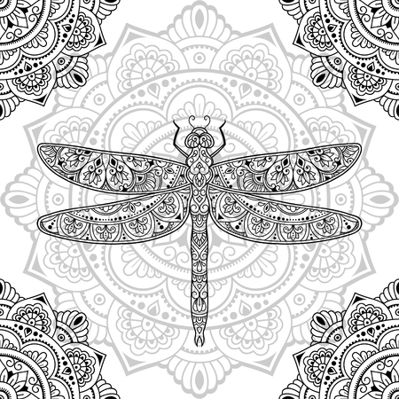 Dragonfly decorated with seamless Indian ethnic floral vintage pattern. Hand drawn decorative insect in doodle style on mandala. Stylized mehndi ornament for tattoo, print, book and coloring page.