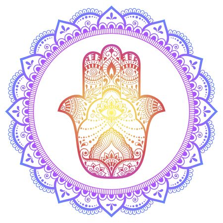 Color Circular pattern in form of mandala with ancient hand drawn symbol Hamsa for decoration. Decorative ornament in oriental style. Rainbow design on white background.