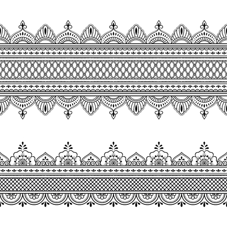 Set of seamless border ornament for design, Henna drawing, Mehndi and tattoo. Decorative pattern in ethnic oriental, Indian style. Ilustração