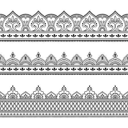 Set of seamless border ornament for design, Henna drawing, Mehndi and tattoo. Decorative pattern in ethnic oriental, Indian style. Vektoros illusztráció