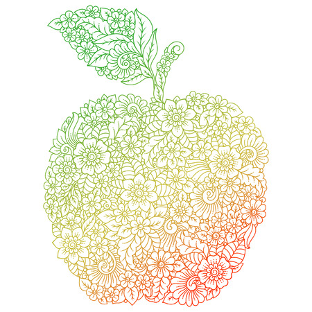 Highly detailed color floral pattern made in Mehndi style in form of apple fruit. Decoration flower in ethnic oriental, Indian style.  イラスト・ベクター素材