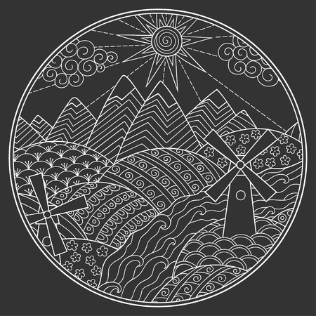Landscape in round frame - mountains, rivers, fields, hills, windmills, sun and cloud. Outline doodle white color pattern on dark background. Stylization of chalk drawing. Иллюстрация