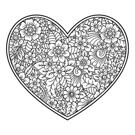 Mehndi flower pattern in form of heart for Henna drawing and tattoo. Decoration in ethnic oriental, Indian style. Valentine's day greetings. Coloring book page. Imagens - 122790846