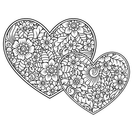 Patrón de flores mehndi en forma de corazón para dibujo y tatuaje de henna. Decoración en estilo étnico oriental, indio. Saludos de San Valentín. Página de libro para colorear.