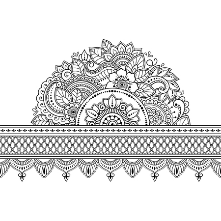 Seamless borders with mandala for design, application of henna, Mehndi and tattoo. Decorative pattern in ethnic oriental style.
