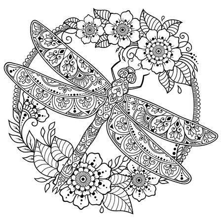 Motivo circolare a forma di mandala con libellula e fiore per henné, mehndi, tatuaggio, decorazione. Ornamento decorativo in stile etnico orientale. Cornice nella tradizione orientale.