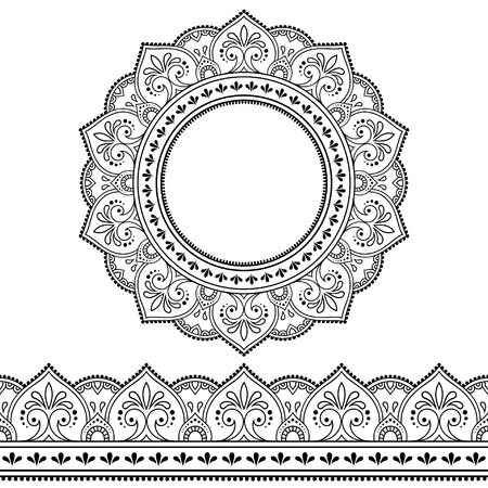 Set of seamless borders and circular ornament in form of frame for design, application of henna, Mehndi, tattoo and print. Decorative pattern in ethnic oriental style. Ilustrace