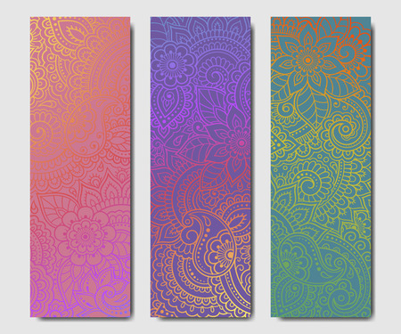 Set of design yoga mats. Floral pattern in oriental style for decoration sport equipment. Colorful ethnic Indian ornaments for spiritual serenity. Decor of business card, poster, print in henna tattoo