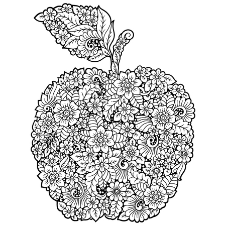 Highly detailed floral pattern made in Mehndi style in form of apple fruit. Decoration flower in ethnic oriental, Indian style.