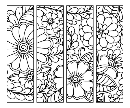 Bookmark for book - coloring. Set of black and white labels with floral doodle patterns, hand draw in mehndi style. Sketch of ornaments for creativity of children and adults with colored pencils. Vectores