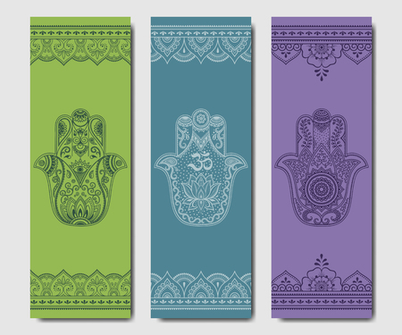 Set of design yoga mats. Hamsa pattern in oriental style for decoration sport equipment. Colorful ethnic Indian ornaments for spiritual serenity. Decor of business card, poster, print in henna tattoo