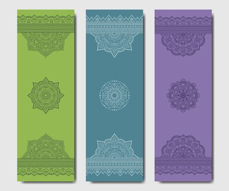 Set of design yoga mats. Floral and mandala pattern in oriental style for decoration sport equipment. Colorful ethnic Indian ornaments for spiritual serenity. Decor of business card, poster, print. Ilustração
