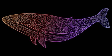 Whale is a marine mammal made a floral pattern with Oriental ornaments. Hand drawn decorative animal in Doodle style. Stylized decoration of mehndi for tattoos, stamps, covers, and books.