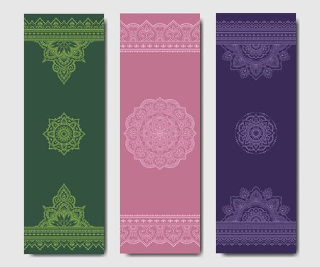 Set of design yoga mats. Floral and mandala pattern in oriental style for decoration sport equipment. Colorful ethnic Indian ornaments for spiritual serenity. Decor of business card, poster, print.  イラスト・ベクター素材