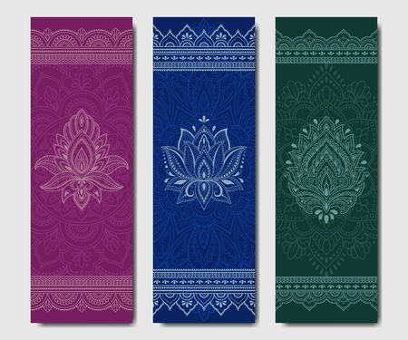 Set of design yoga mats. Floral and mandala pattern in oriental style for decoration sport equipment. Colorful ethnic Indian ornaments for spiritual serenity. Decor of business card, poster, print. Çizim