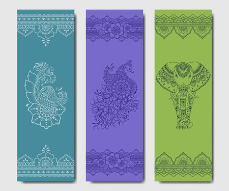 Set of design yoga mats. Floral and animals pattern in oriental style for decoration sport equipment. Colorful ethnic Indian ornaments for spiritual serenity. Decor of business card, poster, print.