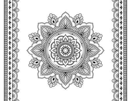 Set aus Mandala-Muster und nahtloser Grenze für Henna-Zeichnung und Tätowierung. Dekoration in ethnisch orientalischem Mehndi, indischer Stil. Gekritzelverzierung in Schwarzweiss. Hand zeichnen Vektor-Illustration.