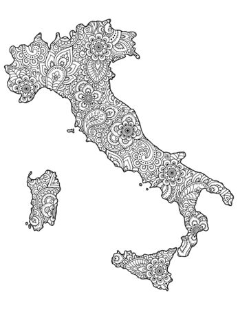 Contour map of Italy is filled with highly detailed floral pattern. Floral ornament in Oriental mehndi style. Doodle coloring book page.