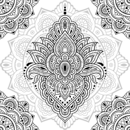 Seamless decorative ornament in ethnic oriental style. Circular pattern in form of mandala and Lotus flower for Henna, Mehndi, tattoo, decoration. Doodle outline hand draw vector illustration.