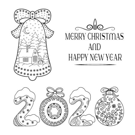 Decorative festive lettering - text greetings Merry Christmas and Happy New Year, doodle number 2020. Decoration in form of bell with house and eating in the snow for holiday, postcards, covers.