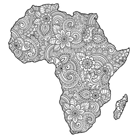 Contour map of Africa and Madagascar is filled with highly detailed floral pattern. Floral ornament in Oriental mehndi style. Doodle coloring book page.